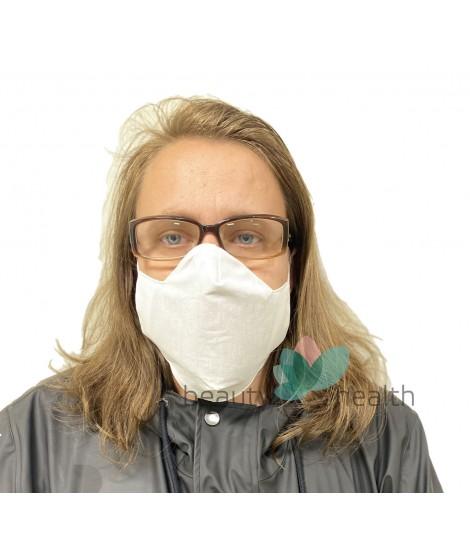 Бяла памучна предпазна маска за лице с филтър с активен въглен от кайсиеви костилки разработка на БАН   beautyhealth.bg