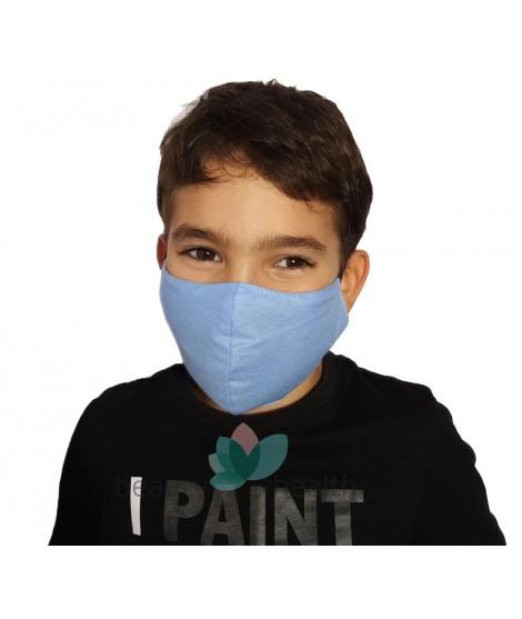 Детска предпазна маска за лице с филтър с активен въглен от кайсиеви костилки разработка на БАН - син цвят| beautyhealth.bg