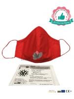 Червена памучна предпазна маска XL размер за лице с филтър с активен въглен от кайсиеви костилки разработка на БАН 8,70лв